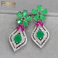 Vintage White Gold Plated Nigerian Women Party Big Flower Long Drop Earrings Jewelry With Natural Green And Red Stone E195