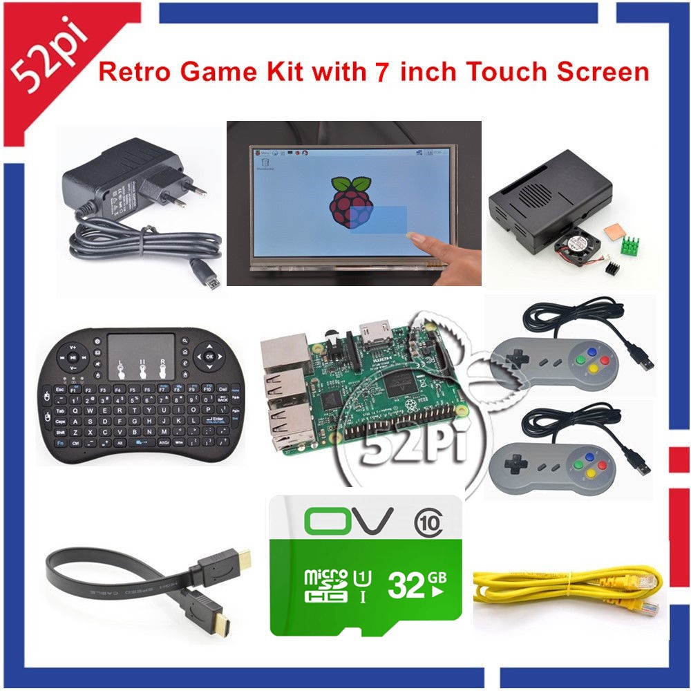 52Pi Raspberry Pi 3 Model B 32GB RetroPie Game Kit with 7 Inch 1024*600 Touch Screen SNES USB Controller Gampad Joystick Joypad стоимость