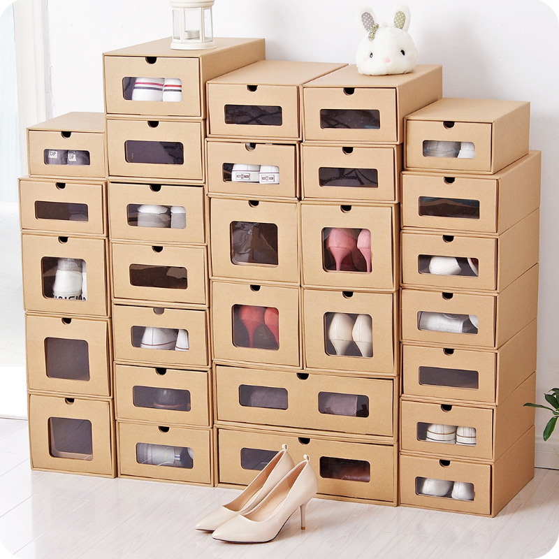 Us 6 3 8 Off Safe Diy Kraft Paper Assembly Drawer Shoe Box Organizer Men Women Shoes Storage Box Case Boots Sneakers Dust Proof Finishing Box In