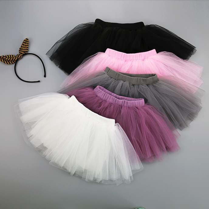 Cute! 2018 Girls summer Skirt Lace Ball Gown Skirt 1~5Y baby girls Tutu Skirt Toddler Solid Lace Skirt Pink White Grey Black plus solid tailored bardot jumpsuit with skirt overlay