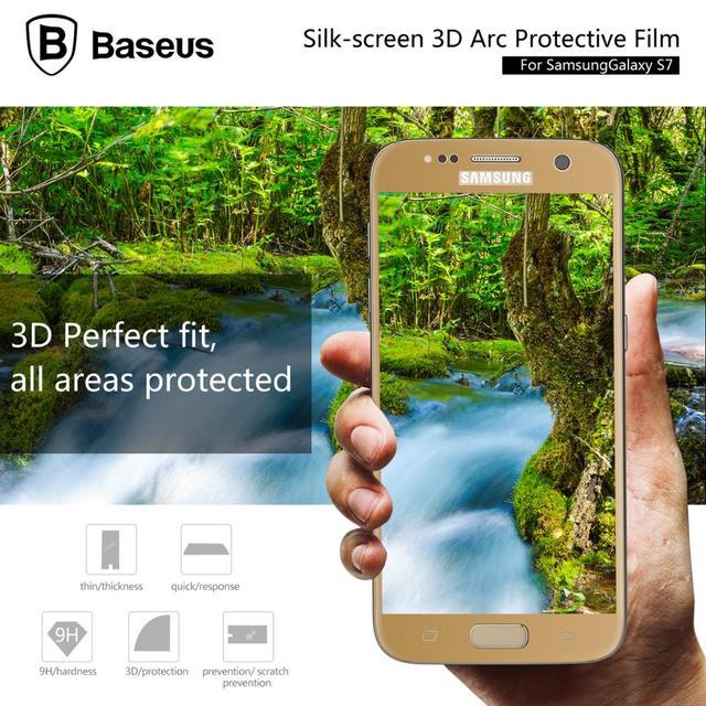 Baseus 9H Full Cover Tempered Glass For Samsung Galaxy S7 G9308 G9300 G930A G930 G930F 0.3MM 3D Arc Edge Screen Protector Film