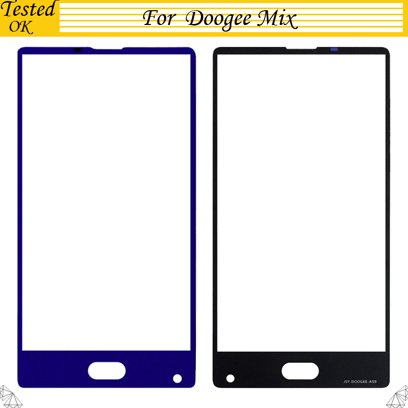 Black Blue For DOOGEE MIX Front Glass Screen Lens Front Touch Screen Glass Outer Lens For DOOGEE MIX