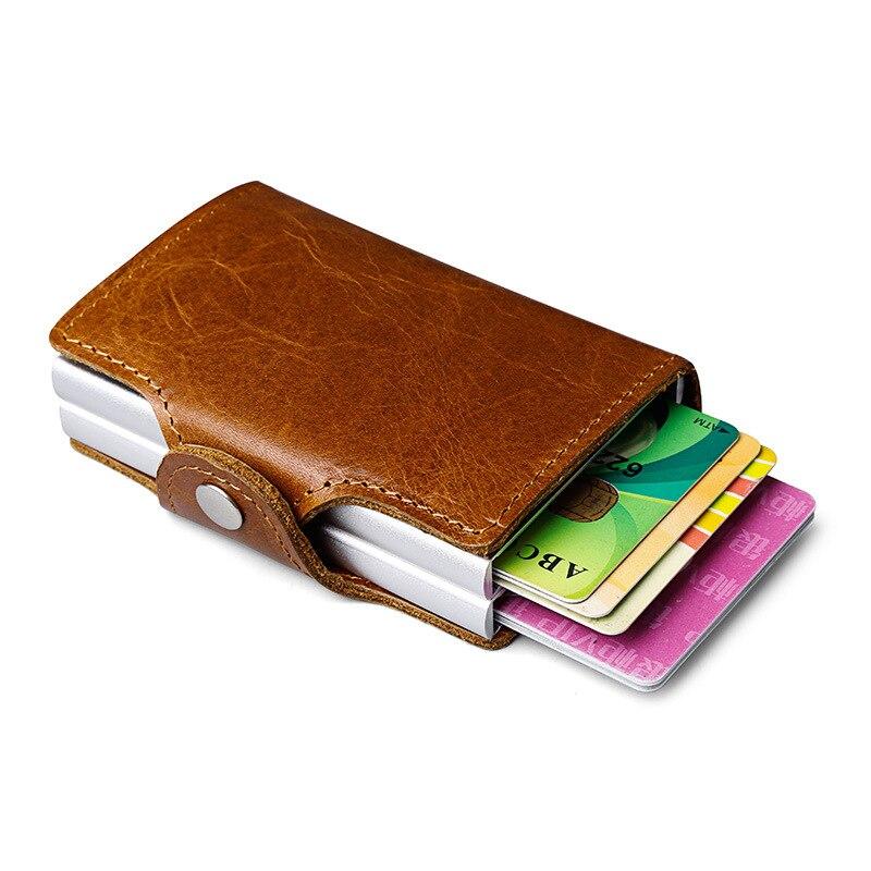 Hommes en cuir véritable double métal porte-carte de crédit en Aluminium RFID blocage portefeuille moraillon Mini Vintage portefeuille tenir des cartes