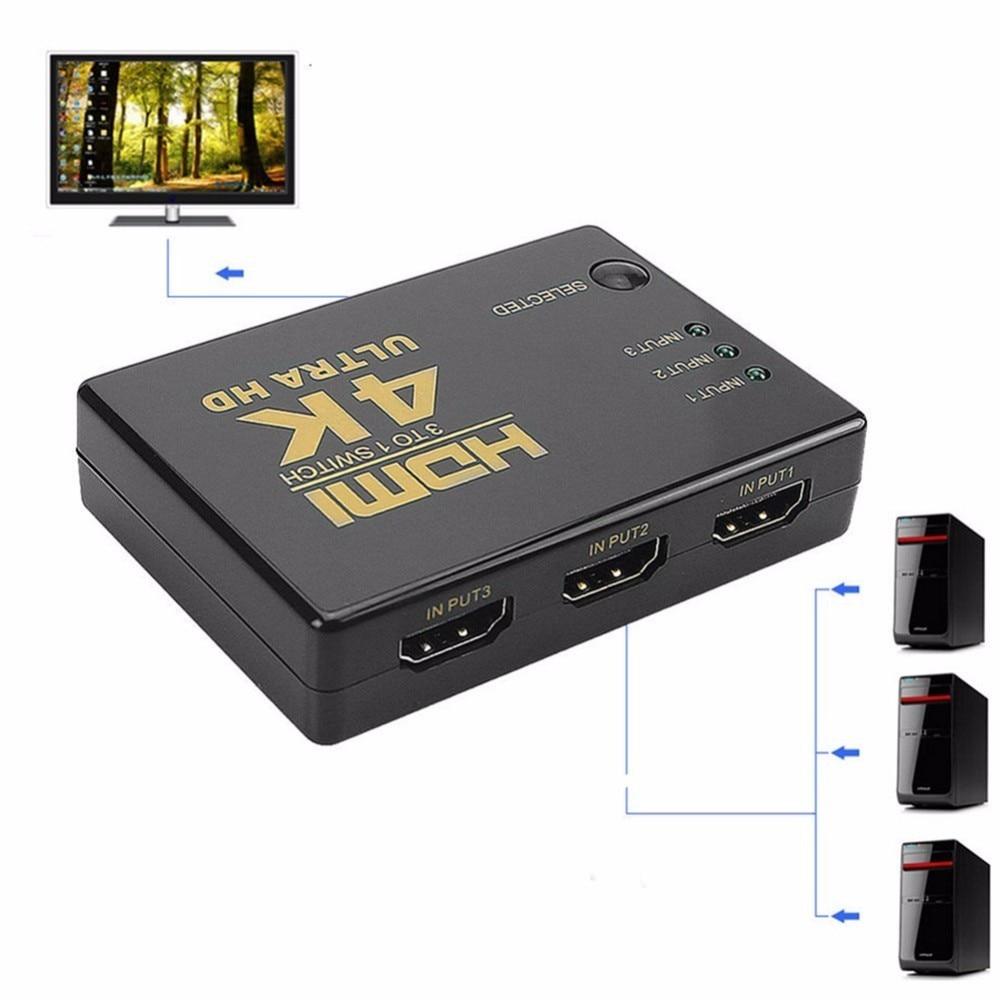 1080 P 4 K x 2 K 3 em 1 Out HDMI Switch Hub Switcher Splitter TV Ultra HD para HDTV PC
