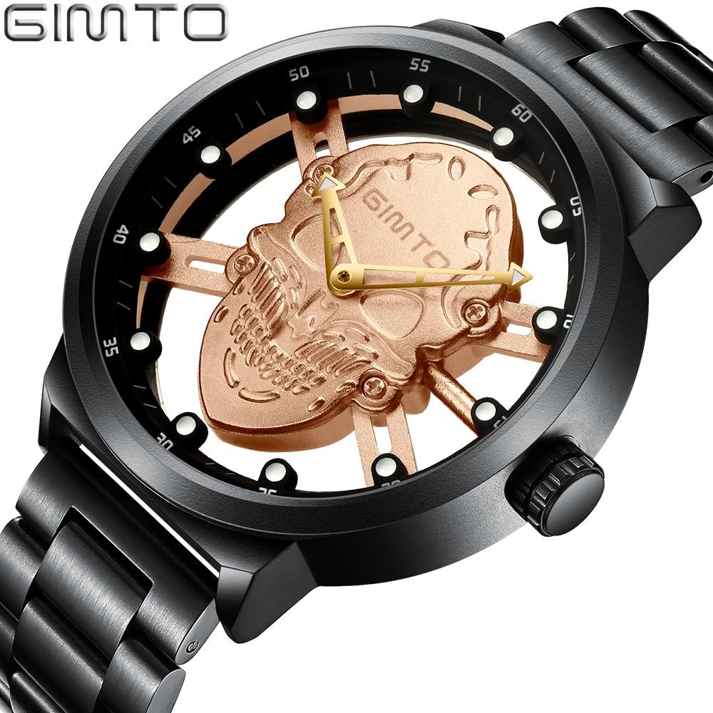 GIMTO Creative Skull Men Watch Luxury Brand Hollow Gold Quartz Military Watches Steel Male Waterproof Clock Relogio Masculino