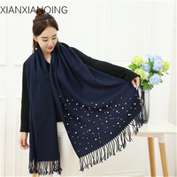 XIANXIANQING 2017 Winter Women Warm Scarf Solid Scarves Beauty Pearls Cape Fake Cashmere Womens Shawls Fashion