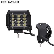 ECAHAYAKU 4inch Tri-row 12V Car Led Work Light Bar 36W 6000K IP68 Driving Beam Lights for Offroad 4x4 Trucks SUV ATV Trailer