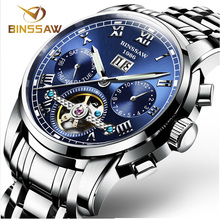 BINSSAW Men Automatic Mechanical Watches Tourbillon Top Brand Luxury Stainless Steel Watch Mens Sport Wrist Watch Male relogio