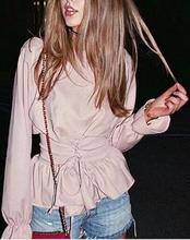 2017 New Pink Belted Lace Up Satin Long Sleeve Shirt Women Fall Summer O Neck Lantern Sleeve Ruffle blouse