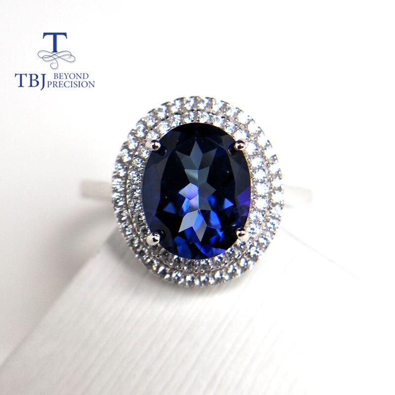TBJ, bague design classique avec plus de 8*10mm bague en topaze bleue mystique en 925 bijoux en argent bijoux en pierres précieuses fines douces