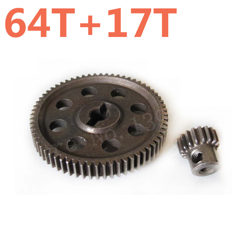 RC Car Parts 11184 Metal Diff.Main Gear 64T &11119 Motor Gears 17T RC Parts For 1/10 Scale Models HSP Truck Hobby Baja Himoto free shipping 78pcs gear set tyre tires special umbrella teeth gears rack car shaft spare parts for diy rc car aircraft models