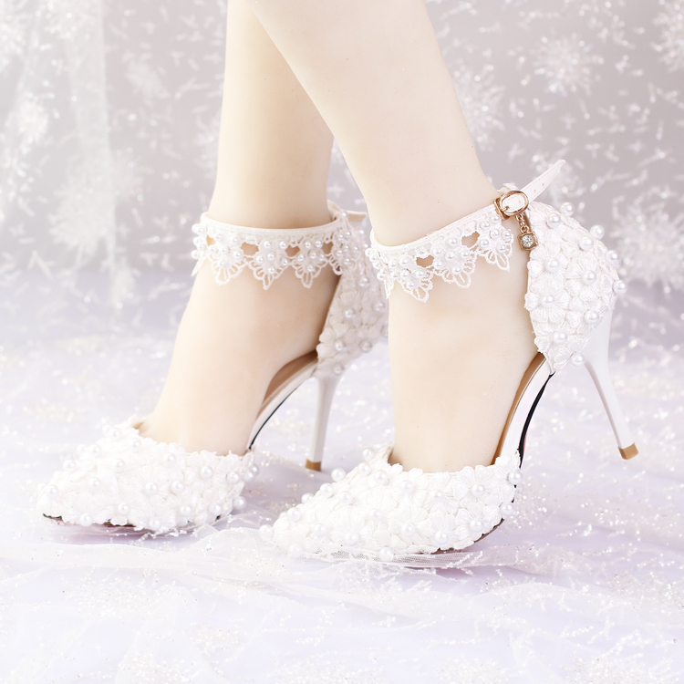 White bridal shoes strap lace flower pearl wedding shoes banquet female adult sandals new arrival