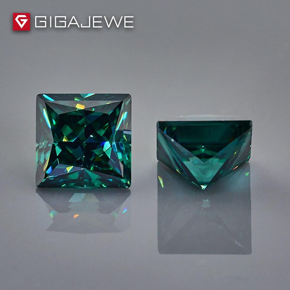 GIGAJEWE ciemny zielony kolor księżniczka Cut 5.5mm 1 1.5ct fantazyjne jasne kamień Moissanite dla Wedings pierścionek zaręczynowy zestaw w Koraliki od Biżuteria i akcesoria na  Grupa 3