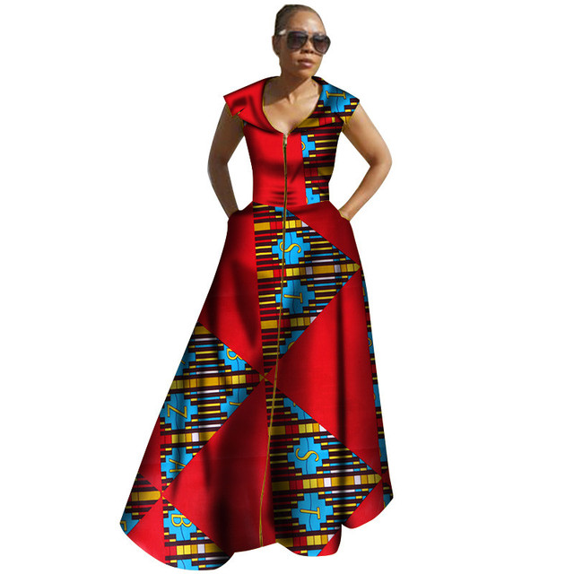 53bdf327965ed 2018 African Dashiki Women Dresses Ankara Style Lady Clothes African Print  Clothing Bazin Riche African Clothes Party Dresses