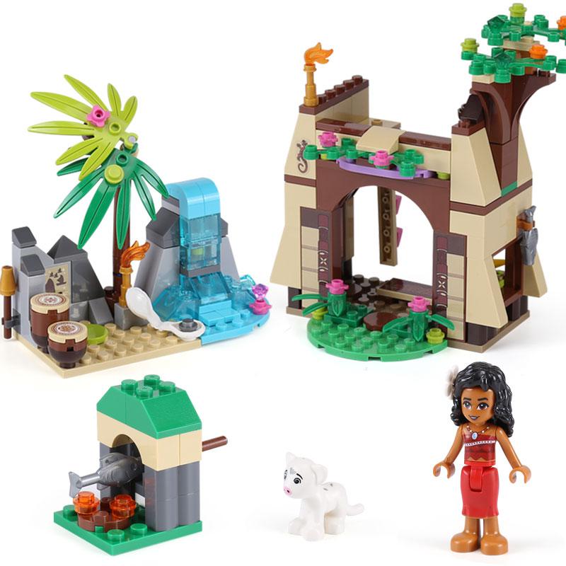 221Pcs LOL Compatible playmobil Moanas Ocean Voyage Princess Moana Girls Friends Set Models & Building Blocks toys for children