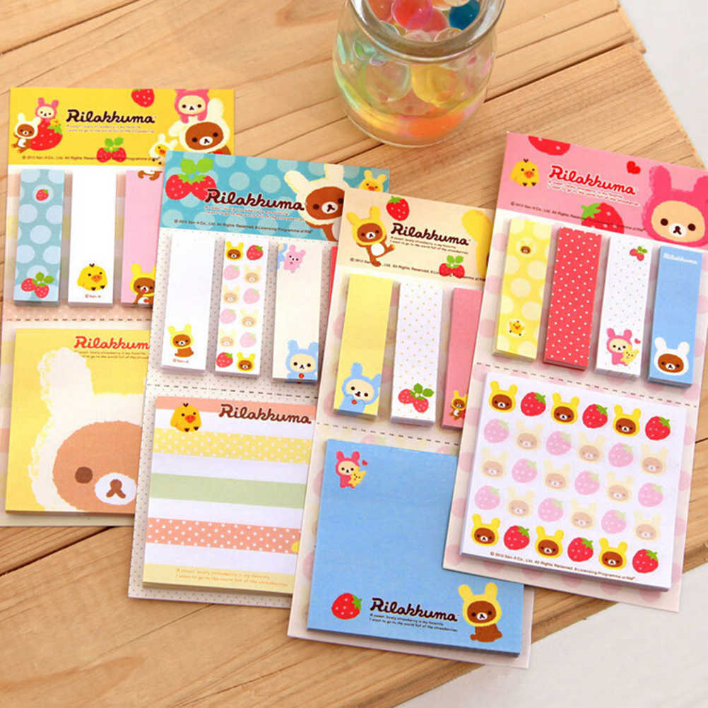 Rilakkuma Leuke Cartoon Beer Sticky Notes Memo Pad Schoolbenodigdheden Planner Stickers Papier Bladwijzers Korea Briefpapier