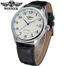 Nuevo Ganador Casual Relojes Automáticos de Los Hombres de la venta Caliente moda Hombres Reloj Automático correa de cuero negro Envío Libre WRG8024M3S4