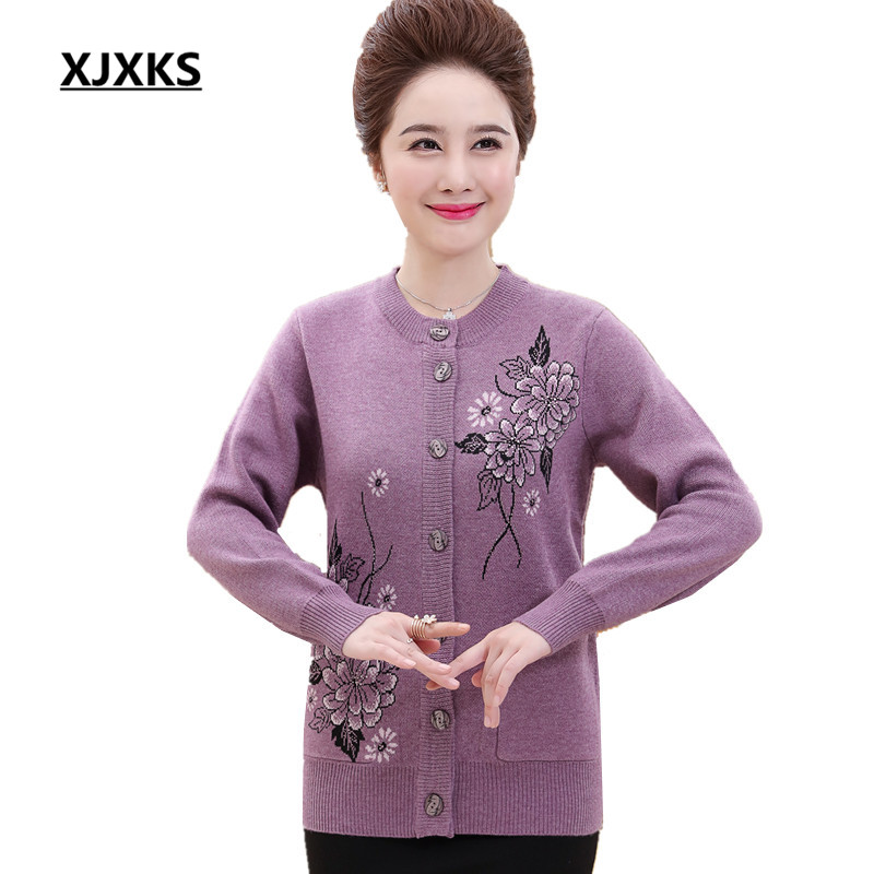 XJXKS Flowers Print Women Sweaters And Cardigans Beautiful Round Neck Plus Size Button Decoration Casual Winter