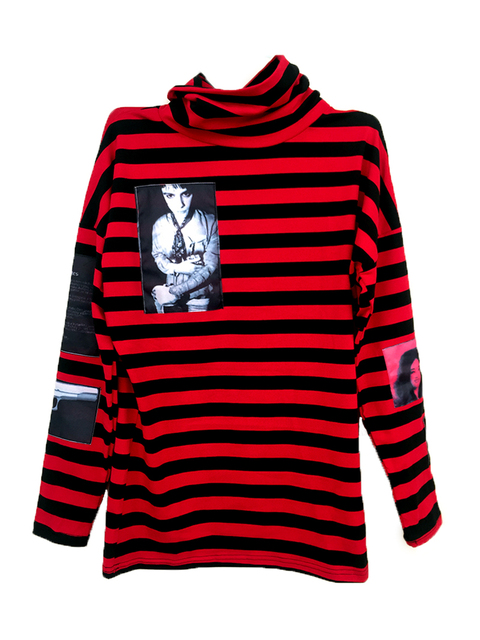 d1b0ff55f36ca8 New Korean Harajuku GD Black Red Striped T-shirt Men Women Unisex Loose  Oversize Extra