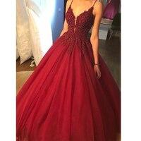 Платье на бретельках бордового цвета на заказ, бальное платье, бальное платье с аппликацией, фатиновое вечернее торжественное платье, длинн