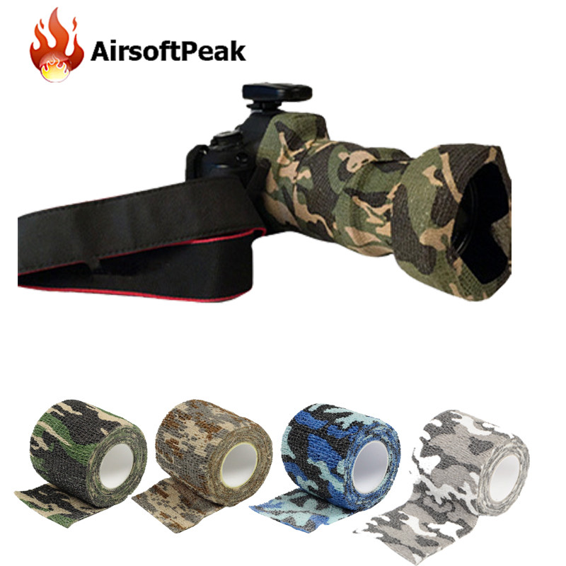 Army Elastic Stealth Tape Military Waterproof Camouflage Camo Wrap Tapes  Paintball Gun Shooting Stretch Bandage Hunting Tools ff4b5bf68b