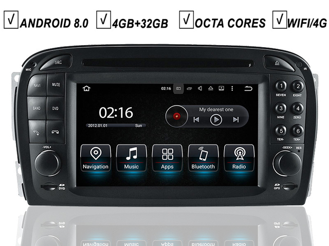 car android 8 0 dvd gps player for mercedes benz sl-class sl350 r230 radio  bluetooth rds free map camera input wifi sat navi sd