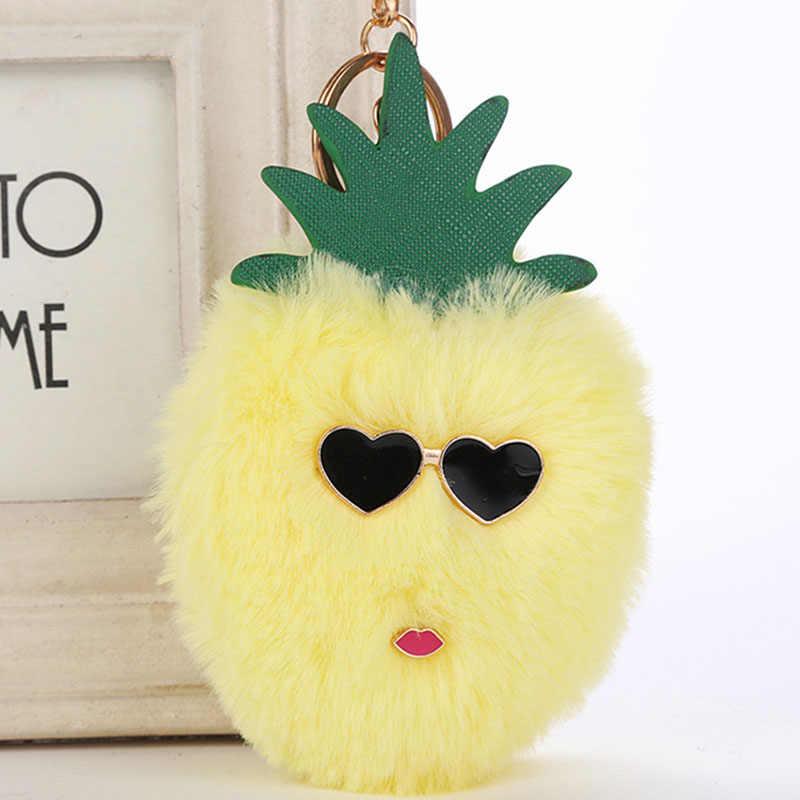RE fofo faux fur pompom chaveiro mulheres bolsa encantos abacaxi fruta morango bugiganga anel chave do carro chaveiro cadeias J35