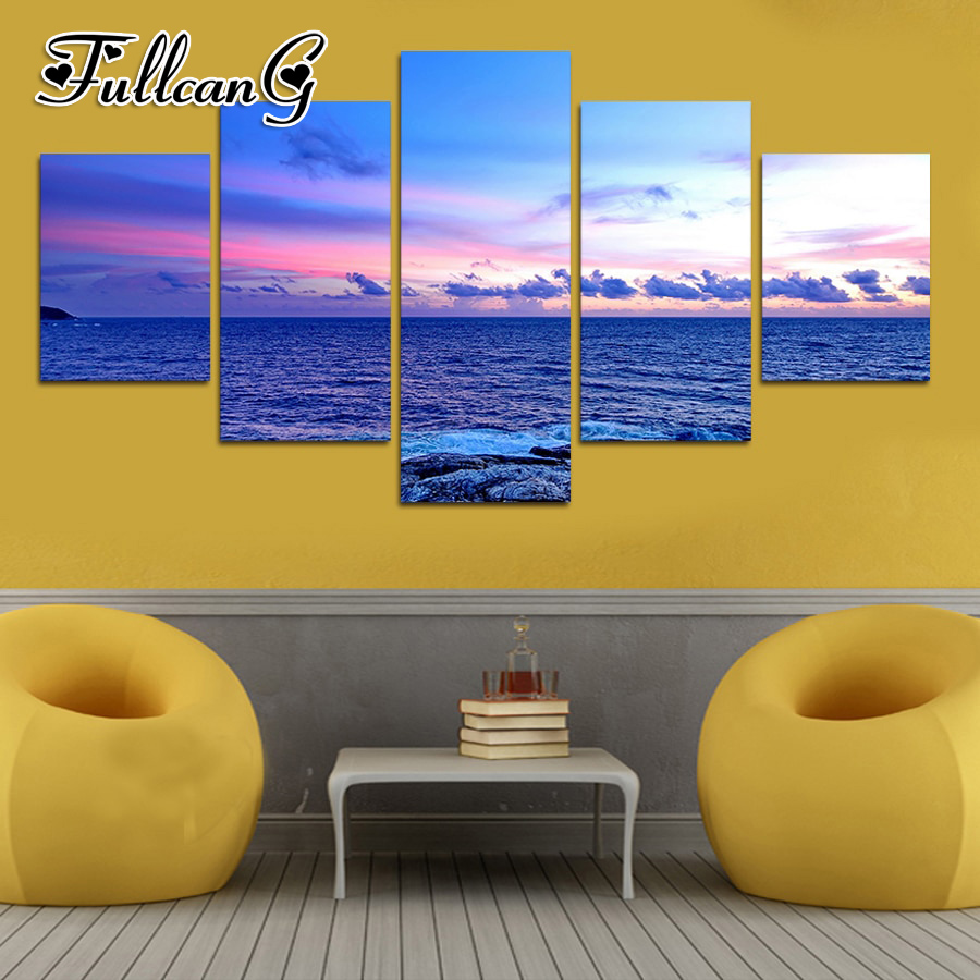 FULLCANG 5pcs diy diamond painting calm seascape full drill 3d cross stitch mosaic embroidery multi-picture hobby G1196
