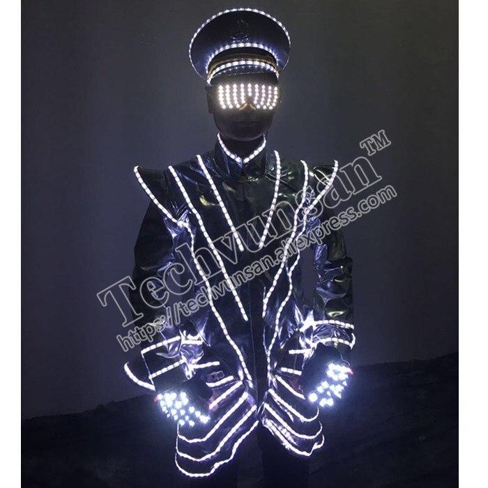 Модные светодиодный люминесцентные одежда ночной магазин посылает одежду, чтобы показать одежду шляпа лазерный перчатки очки реквизит