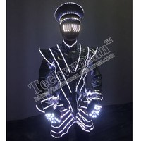 Fashion LED luminescent clothes The night store sends out the clothes to show the clothes Hat laser glove spectacles props