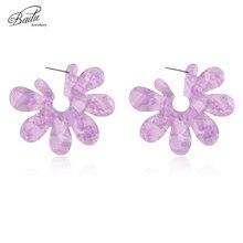 Badu Big Flower Acrylic Earrings for Women Punk Style Fashion Jewelry Stud Large Statement Acetic Acid Wholesale