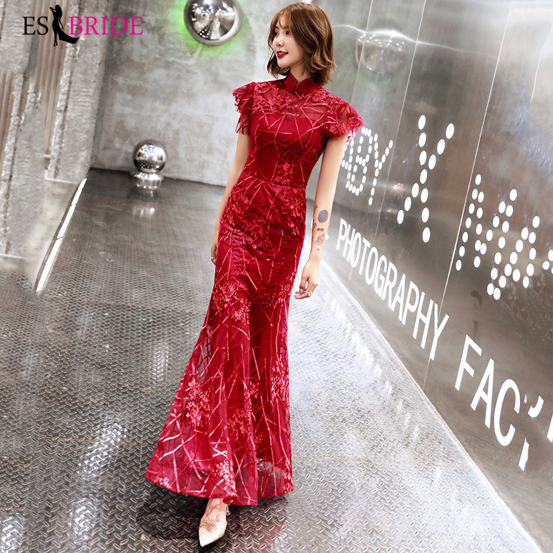 Red Prom   Dress     Evening     Dress   2019 High-neck Long Formal   Dress   Student Party   Evening     Dresses   Long Vestido De Noche ES2469