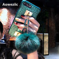 Aoweziic Snake skin tide brand luxury personalized chain hair ball For iPhone7 8plus X XS MAX XR phone case female 6S hard shell