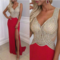 Real Photos Tulle jersey Crystal  Backless Red Color Party Occasion Formal Long Prom Dress For Wedding Party OL102905