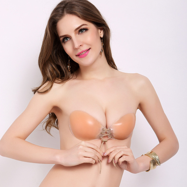 Women Fly Bra Push Up Silicone Bralette Backless Strapless Bras Invisible For Wedding Dress