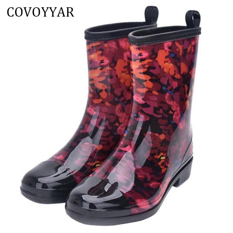 COVOYYAR Rain Boots Women 2019 Mixed Colors Ladies Rubber Boots Fashion Waterproof Rainboot Non-Slip Low Heel Women Shoes WBS398
