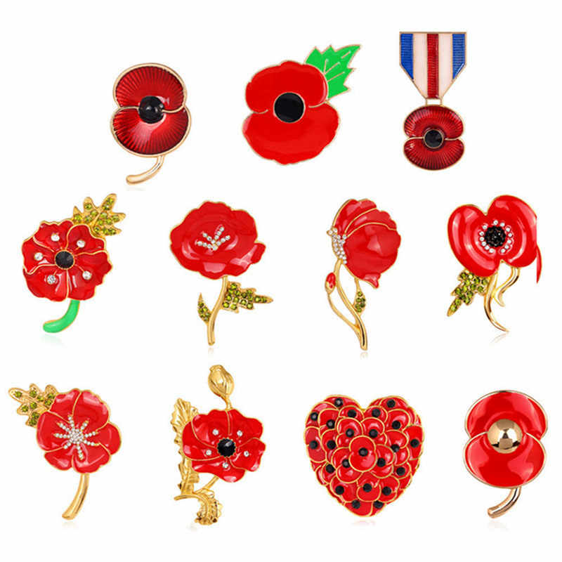 Enamel Red Poppy Brooches Flower Diamante Crystal Broach Banquet Badge Brooch Breastpin Hijab Pins And Brooch