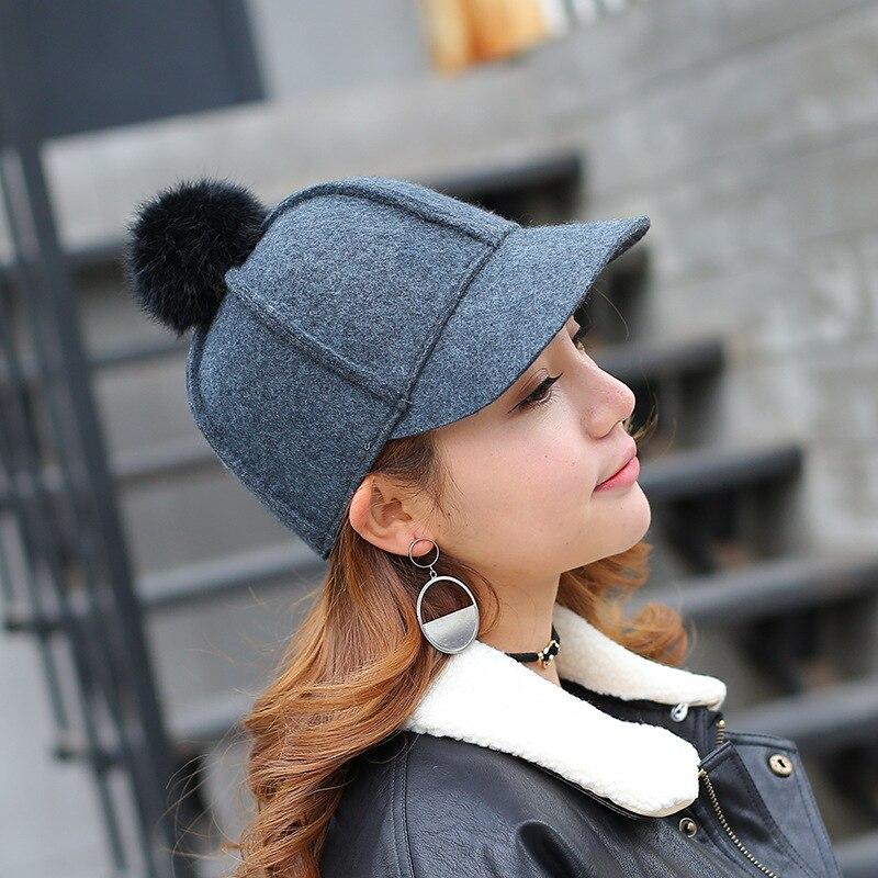 JU-MS16PJMQ winter % wool solid warm leisure Classic equestrian cap MEN women wool visors hat