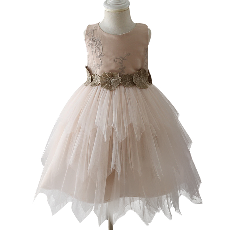 Girl Dress 2017 Fashion Summer Gold thread embroidery applique Princess Dresses For Girls Net yarn Birthday Holiday Party Dress gold sexy gold thread embroidery hollow out lace crop top
