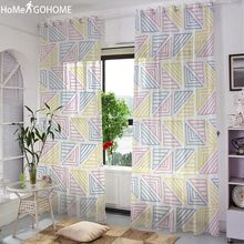 Simple Geometric Decoration  Voile Door Window Curtains Drape Panel Sheer Tulle For Home Decor Living Room Bedroom Kitchen 2019