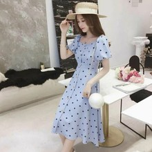 Women Vintage Polka Dot Dress Button Up Puff Sleeve Square Collar High Waist Long Dress Summer Holiday Dress