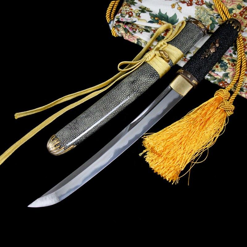 Perle fisch haut Japanischen schwert kurze messer outdoor selbstverteidigung film schwert samurai schwert Dongyang messer samurai schwert katana-in Schwerter aus Heim und Garten bei  Gruppe 1