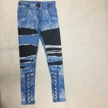 Women Jeans Blue Print Leggings Sporting Workout Leggins 3D Workout Fitness Elastic Pants