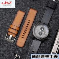 Retro leather strap fitted with DIESEL DZ4318 DZ7408 DZ4426 men's watch accessories 22 24 26mm