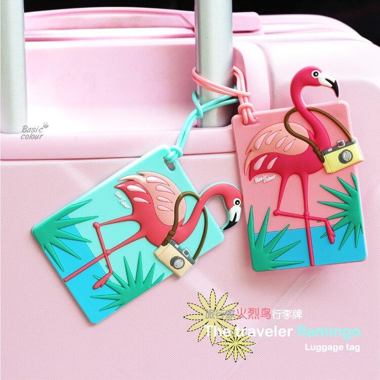 Original Flamingos Travel Accessories Luggage Tags Animal Silica Gel Suitcase ID Addres Holder Baggage Boarding Portable Label