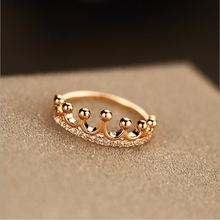 New Brand Luxury Crown Queen Rings Rose Gold Plated Zircon Crystal For Women Engagement Anillos Female Fashion Jewelry