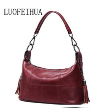 LUOFEIHUA  Leather handbags 2018 autumn and winter new fashion messenger bag First layer leather tassel shoulder bag vintage ladies handbag 2018 new autumn and winter bag genuine leather roses floral zipper messenger bag fashion handbags