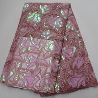 (5yards/pc) high quality African French net lace fabric in dusky pink with shining sequins embroidery for party dress FLP996