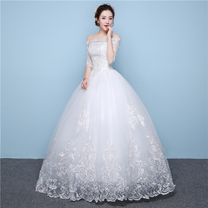 Image 3 - White Lace Boat Neck Half Sleeve Fashion Simple Wedding Dress Gowns Hiqh Quality Floor Length Big Embroidery Off the shoulder