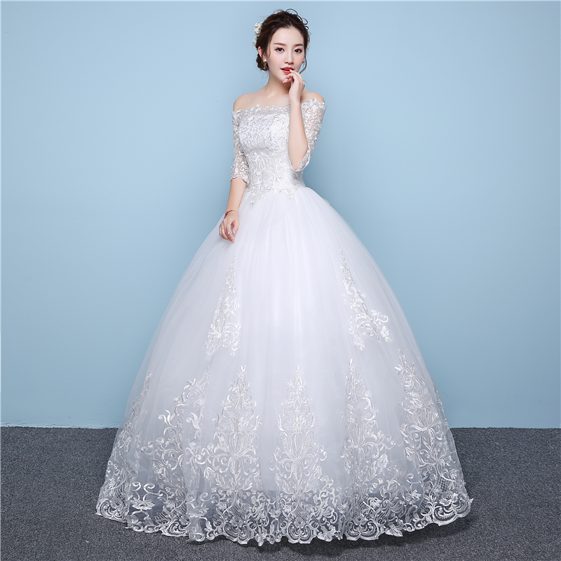 Image 3 - White Lace Boat Neck Half Sleeve Fashion Simple Wedding Gowns  Hiqh Quality Floor Length Big Embroidery Off the shouldersimple  weddingsimple wedding gownwedding gowns